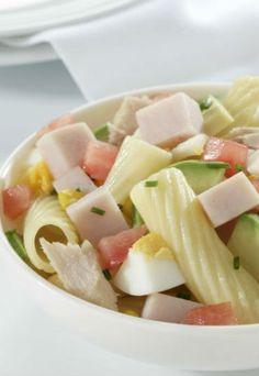 Ensalada de macarrones con mini de pechuga de pavo (receta) - Recetas de ensaladas originales, ¡Dales un nuevo toque de sabor!