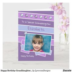 Happy Birthday Granddaughter purple lilac photo Card Birthday Greeting Cards, Custom Greeting Cards, Birthday Greetings, Happy Birthday, Purple Lilac, Plant Design, Dog Design, Party Hats, Photo Cards