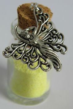 Yellow fairy dust bottle necklace £8.00