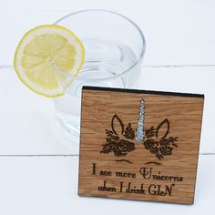 A beautiful oak wood coaster with an intricate, floral Unicorn design and sliver glitter horn. The perfect gift for Unicorn and Gin lovers!  Option to personalise the back with your own message.