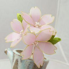 Resin Flower Kanzashi Cherry Blossom Sakura by HanamiGallery
