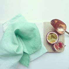 Ombre mint  linen tea towel. Pale green hand dyed by SamiCouper