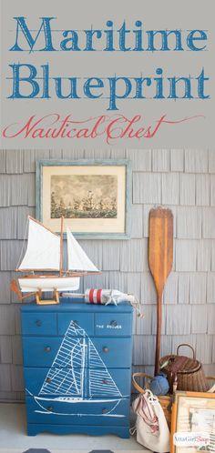 Handpainted Maritime Blueprint Dresser Inspired By Vintage Nautical Decor