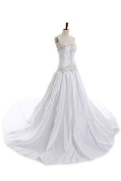 sweetheart neckline satin wedding dress (with  4 foot train on the floor)  A-line/Princess,Floor Length,Dropped,Chapel Train,Strapless,Sweetheart,Sleeveless,Beading,Pleats,Lace-Up,Satin,Church,Garden/Outdoor,Hall,Spring,Fall,