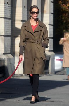 Christy Turlington walking her dog in style.
