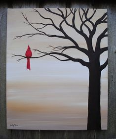 Red Bird Original Acrylic Canvas by SugarCreekArt on Etsy