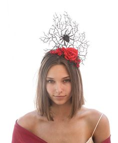Womens Deluxe Raven Skull Witch Doctor Headband Red Flowers Costume Accessory