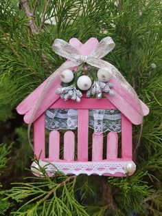 The wooden house is made of ice cream sticks, decorated with lace, needles and beads. The house can be used as a Christmas tree toy, postcard or fridge magnet. The size of the house is about 4 inches. Easy Homemade Christmas Gifts, Easy Christmas Ornaments, Christmas Tree Toy, Simple Christmas, Christmas Crafts, Merry Christmas, Easy Crafts, Crafts For Kids, Diy Popsicle Stick Crafts