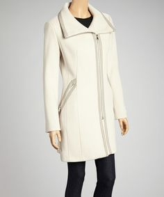 Take a look at this Flax Sweater-Knit Wool-Blend Jacket by Calvin Klein on #zulily today!