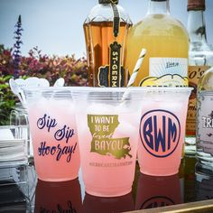 Ditch the traditional party cup for these bright and personalized party cups! Great for outdoor hosting and easy clean up! graciousbridal.com/