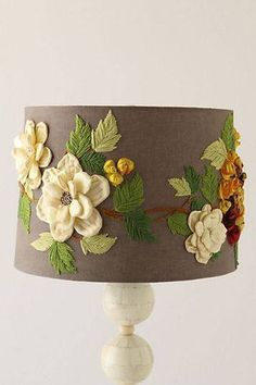 embroidered lamp shade like this one from Anthropologie is a dynamic addition. -An embroidered lamp shade like this one from Anthropologie is a dynamic addition. Embroidery Patterns, Hand Embroidery, I Love Lamp, Style Deco, Rustic Lamps, Light Decorations, Diy And Crafts, Crafty, Handmade