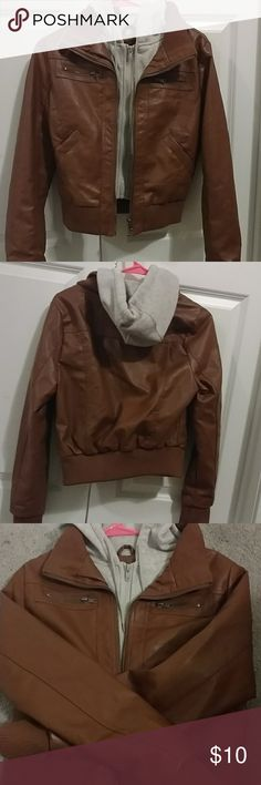 Womens Jacket Very Cute Womens Brown Leather Jacket Only Worm Twice In Good Condition 😊🎀 Ambiance Apparel Jackets & Coats
