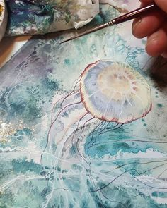 More for this piece that will be at in April (show opens tomorrow evening I'll be doing a jellyfish demo video also this month on patreon which you'll be. * So far I'm just using them mixed with watercolors for some really cool abstract textures that I. Watercolor Jellyfish, Jellyfish Painting, Alcohol Ink Painting, Alcohol Ink Art, Watercolor Pictures, Watercolor Animals, Abstract Painting Techniques, Painting & Drawing, Watercolor Journal