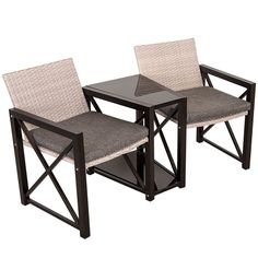 Sundale Outdoor Deluxe Wicker Patio Furniture Set Space Saving Wicker Conversation Set. Built from a rust-resistant steel frame with durable, weather-resistant PE rattan wicker for years of use. This 3 pieces table and chair set bring the convenience to your furniture storage and save your space. Amply 5mm padded and breathable cushions add comfort, Removable cushion covers for easy cleaning. Sturdy glass table top can be used to place beverages or decorative items on it. Perfect for indoor…