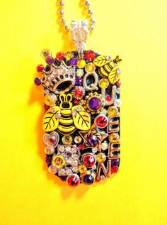 Queen Bee Dog Tag Pendant Necklace Number 1461 by BradosBling, $39.99 on Etsy. www.bradosbling.com