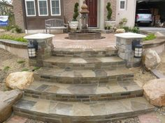 Curved Flagstone Steps Entryways, Steps and Courtyard Quality Living Landscape San Marcos, CA Front Yard Walkway, Front Porch Steps, Front Yard Decor, Front Stairs, Entry Stairs, Front Yard Landscaping, Shade Landscaping, Front Stoop, Front Entry