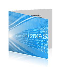 Zakelijke kerstkaart voor de ICT-sector met logo, in blauwe kleurstelling.