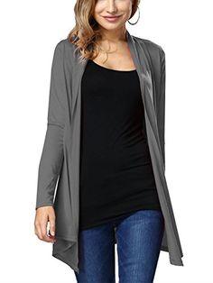 YOSICIL Femme Automne Manches Longues Cardigan Mi-Long Devant Ouvert Gilet  Long Veste Pull Outwear 0942d567a34