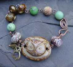 Woodland Owl Stoneware Cuff with Lampwork by jeanawells on Etsy, $42.50
