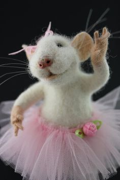 Little Ballerina Mouse with Pink Tulle Tutu