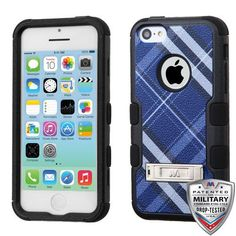 MYBAT TUFF M-Stand iPhone 5C Case - Blue Diagonal Plaid
