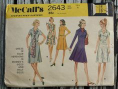 McCall 2643 1970s 70s Simple A Line Shirt by EleanorMeriwether