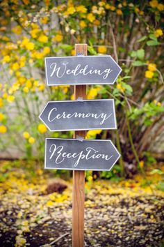 Throwing your ceremony and reception in different locations? Point the way with DIY chalkboard-inspired directional signs created by Evermine.Download the free printable here ►Related: 50 Clever Wedding Tricks to Make Your Life Easier