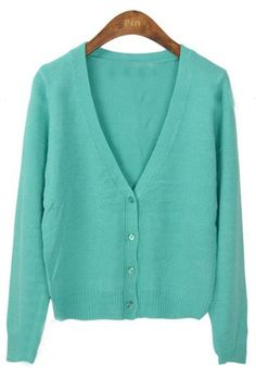 Mint Long Sleeve V-neck Crop Knitted Cardigan
