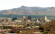 Standing on Mt. Franklin looking out over El Paso downtown into Juarez, Mexico.
