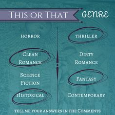 This or That Thursday! I really like to read most genres, but there are a few I prefer over others. I will say the SciFi vs Fantasy was a hard one for me to pick one over the other. I equally love both :) What are your preferences?