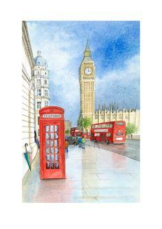 Art Print 'Big Ben after the rain' London painting by GailYerrill, £25.00