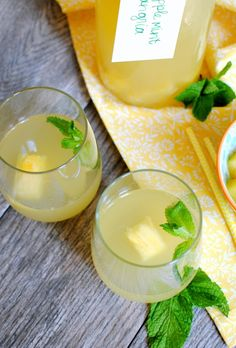 A pineapple mint sangria recipe, perfect for summer parties. Not-too-sweet, refreshing, flavorful and easy to prepare at the last minute!