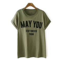 Letters Pattern Short Sleeve Round Neck T-Shirt ($30) ❤ liked on Polyvore featuring tops, t-shirts, green t shirt, green tee, print t shirts, green top and letter t shirts