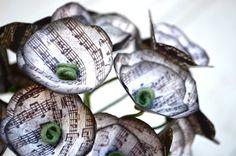 Mini paper flower bouquet sheet music black by MelissaJillBarber