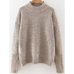 Khaki Crew Neck Ribbed Trim Drop Shoulder Sweater ($19) ❤ liked on Polyvore featuring tops, sweaters, brown top, drop shoulder sweater, brown sweater, khaki sweater and drop-shoulder tops