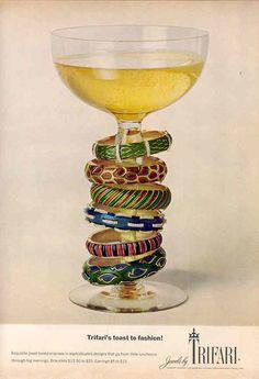 Trifari jewelry ad - Six enamelled bracelets