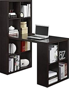 Dark Wooden Home Office Style Computer Desk Hobby Desk Student Workstation Bookshelf Bookcase Laptop Notebook Study Reading Writing Versatile Table Ample Storage Space Perfect for Small Spaces Cubby Storage, Bookcase Storage, Bookshelves, Storage Spaces, Storage Cubes, Apartment Size Furniture, Home Office Furniture, Furniture Making, Furniture Design