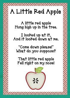 A Little Red Apple song for apple theme unit Preschool Poems, Preschool Apple Theme, Apple Activities, Kids Poems, Fall Preschool, Preschool Classroom, Preschool Learning, In Kindergarten, Preschool Apples