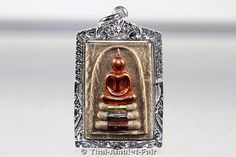 Phra Somdej Kaiser Thai Amulett von Luang Pho Sawai mit Silberfassung.