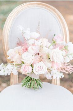 a delicate light pink wedding bouquet with various types of blooms and a simple neutral wrap - Weddingomania Spring Wedding Flowers, Flower Bouquet Wedding, Floral Wedding, Flower Bouquets, Bridal Bouquets, Purple Bouquets, Brooch Bouquets, Purple Wedding, Romantic Wedding Receptions