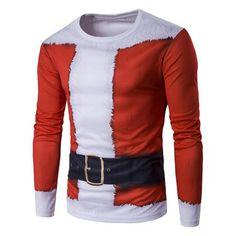 Long Sleeve 3D Father Christmas Costume Print T-Shirt