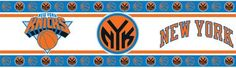Complete your NBA sports bedroom with officially licensed NBA New York Knicks Wall Border. Also great for game rooms, basements, bathrooms and beyond, NBA wallpaper borders can be applied to the wall  check out the deals for knicks gear on my site --->  w