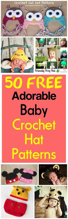 Mama In The Stitch: 50 Free Adorable Baby Crochet Hat Patterns