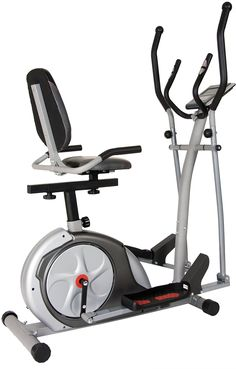 Body Rider 3-in-1 Trio-Trainer, Silver/ Red. Patented design: Effective, Efficient, & Space-Saving. Use as Elliptical Trainer/Upright Cycle/Recumbent Bike. Seamless Transitions: No pedal adjustments necessary. Computer monitor w/17+ Training Programs. Integrated Heart Rate Monitor/Pulse Grips, Motorized Magnetic Resistance & Dual-action Handlebars.