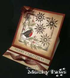 Gorgeous easel card by Kath using Fat Robin stamp set