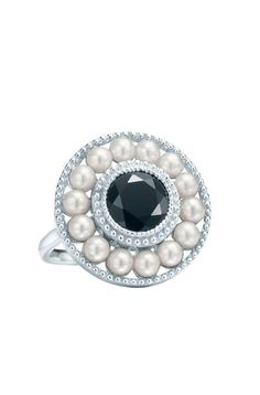 Ziegfeld pearl and onyx ring, part of Tiffany's Gatsby collection.