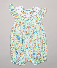 Look at this #zulilyfind! Green & Yellow Fish Smocked Bubble Romper - Infant #zulilyfinds