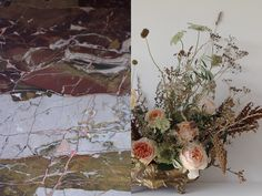 AESME Studio | arrangement with juliet roses and dried grasses