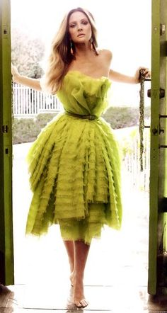 Drew Barrymore in chartreuse