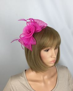 Your place to buy and sell all things handmade Hair Fascinators, Pink Fascinator, Fascinator Hairstyles, Occasion Hats, Uk Shop, Fasteners, Ladies Day, Bright Pink, Mother Of The Bride
